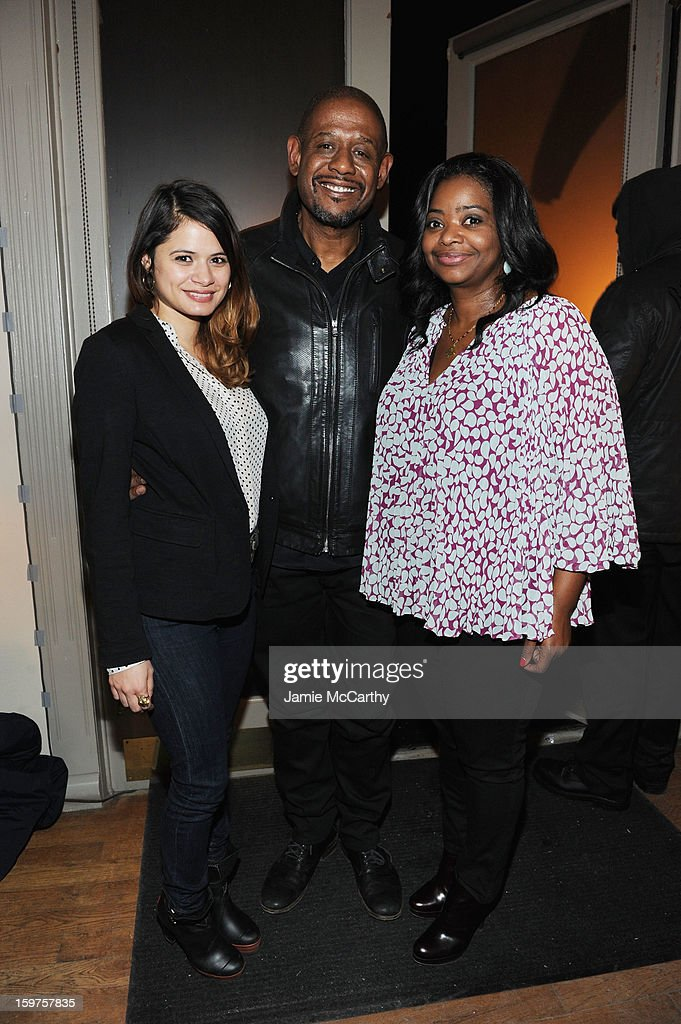 Actress <a gi-track='captionPersonalityLinkClicked' href=/galleries/search?phrase=Octavia+Spencer&family=editorial&specificpeople=2538115 ng-click='$event.stopPropagation()'>Octavia Spencer</a>, producer <a gi-track='captionPersonalityLinkClicked' href=/galleries/search?phrase=Forest+Whitaker&family=editorial&specificpeople=226590 ng-click='$event.stopPropagation()'>Forest Whitaker</a> and actress <a gi-track='captionPersonalityLinkClicked' href=/galleries/search?phrase=Melonie+Diaz&family=editorial&specificpeople=3323742 ng-click='$event.stopPropagation()'>Melonie Diaz</a> attend the Grey Goose Blue Door 'Fruitvale' Dinner on January 19, 2013 in Park City, Utah.