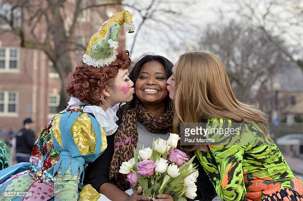 Actress Octavia Spencer rides in the lead car of the parade during the The Hasty Pudding Theatricals Celebration Honoring Octavia Spencer as 2017...