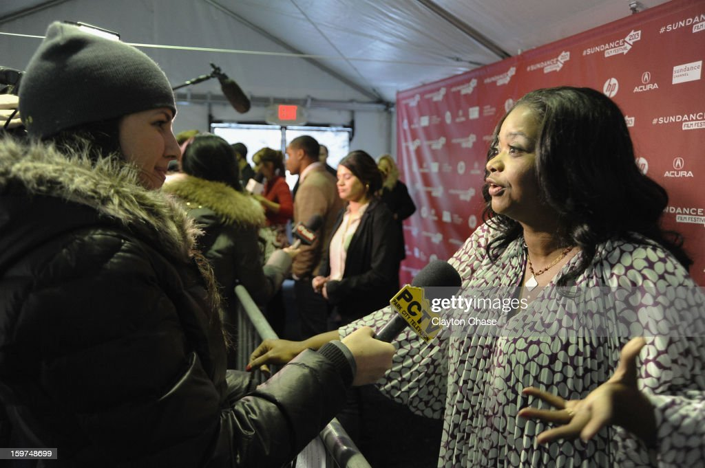 Actress <a gi-track='captionPersonalityLinkClicked' href=/galleries/search?phrase=Octavia+Spencer&family=editorial&specificpeople=2538115 ng-click='$event.stopPropagation()'>Octavia Spencer</a> speaks at the 'Fruitvale' premiere at The Marc Theatre during the 2013 Sundance Film Festival on January 19, 2013 in Park City, Utah.