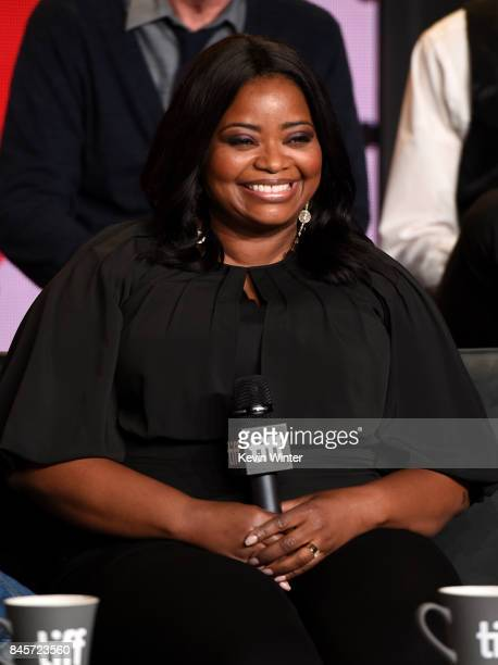 Actress Octavia Spencer speaks onstage at 'The Shape of Water' press conference during 2017 Toronto International Film Festival at TIFF Bell Lightbox...