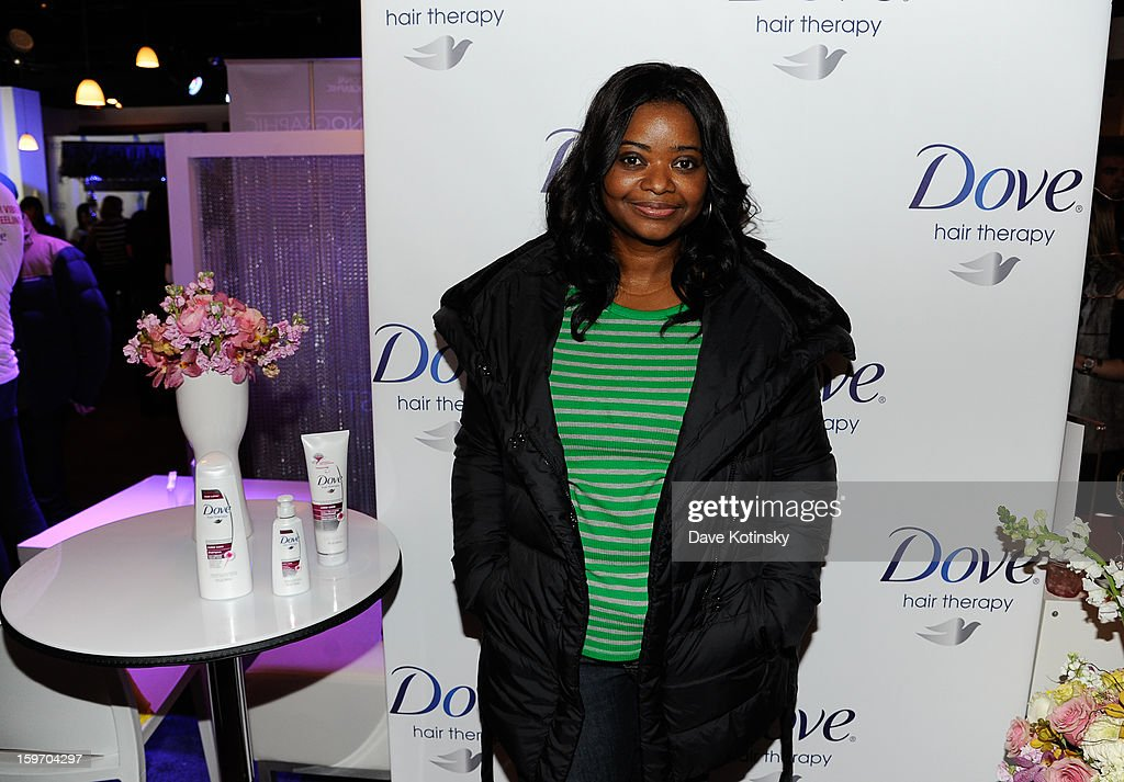 Actress Octavia Spencer stopped by the Dove® Color Care Salon in Park City (to learn about the new Dove® Color Care Shampoo and Conditioner) on January 18, 2013 in Park City, Utah.