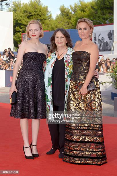 Actress Odessa Young director Sue Brooks and actress Radha Mitchell attend the premiere of 'Looking For Grace' during the 72nd Venice Film Festival...