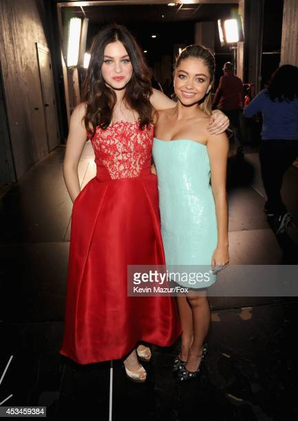 Actress Odeya Rush and host Sarah Hyland attend FOX's 2014 Teen Choice Awards at The Shrine Auditorium on August 10 2014 in Los Angeles California
