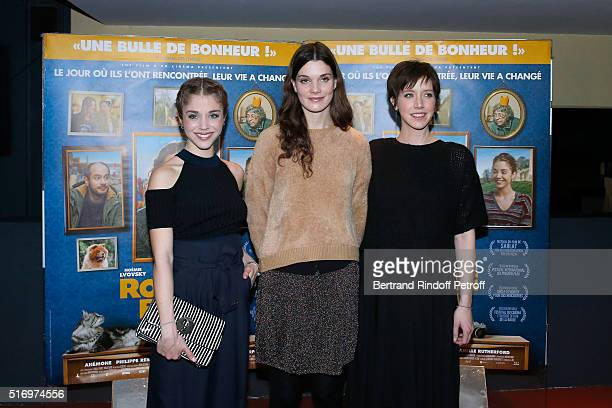 Actress of the Movie Alice Isaaz Camille Rutherford and Sara Giraudeau attend the 'Rosalie Blum' Paris Premiere at UGC Cine Cite des Halles on March...