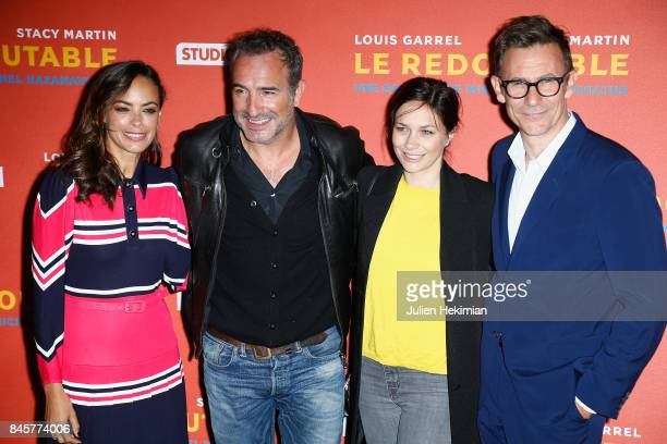 Actress of the movie Berenice Bejo actor Jean Dujardin Nathalie Pechalat and director of the movie Michel Hazanavicius attend 'Le Redoutable' Paris...