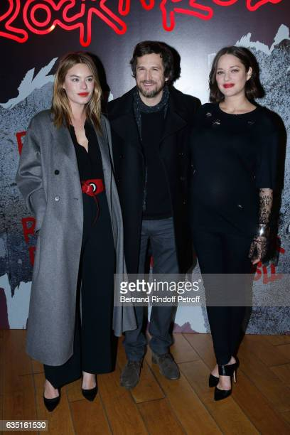 Actress of the movie Camille Rowe Director of the movie Guillaume Canet and actress of the movie Marion Cotillard attend the 'Rock'N Roll' Premiere...