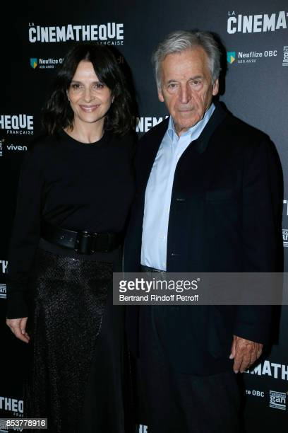 Actress of the movie Juliette Binoche and President of Cinematheque Francaise Constantin CostaGavras attend the 'Un beau soleil interieur' Paris...