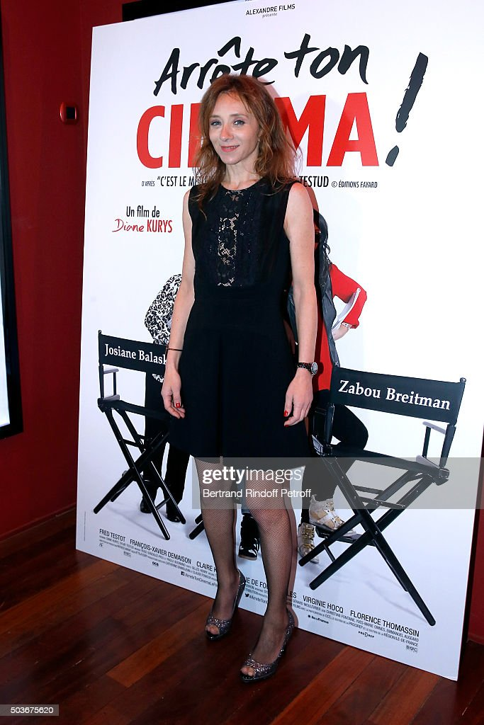 Actress of the movie Sylvie Testud attends the 'Arrete Ton Cinema !' Paris Premiere at Publicis Champs Elysees on January 6, 2016 in Paris, France.