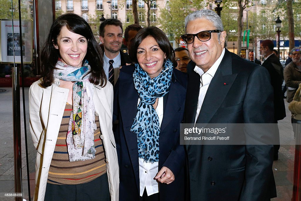Actress of the movie Zabou Breitman, Mayor of Paris Anne Hidalgo and singer Enrico Macias attend the '24 Jours' Paris Premiere at Cinema Gaumont Marignan on April 10, 2014 in Paris, France.