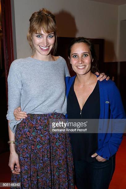 Actress of the piece Pauline Lefevre and Actress Julie de Bona pose after the 'L'Envers du Decor' Theater Play at 'Theatre de Paris' in Paris on...
