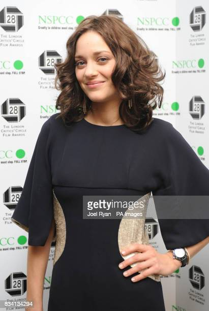 Actress of the Year nominee Marion Cotillard arrives for the Award of the London Film Critics' Circle at the Grosvenor House Hotel in central London