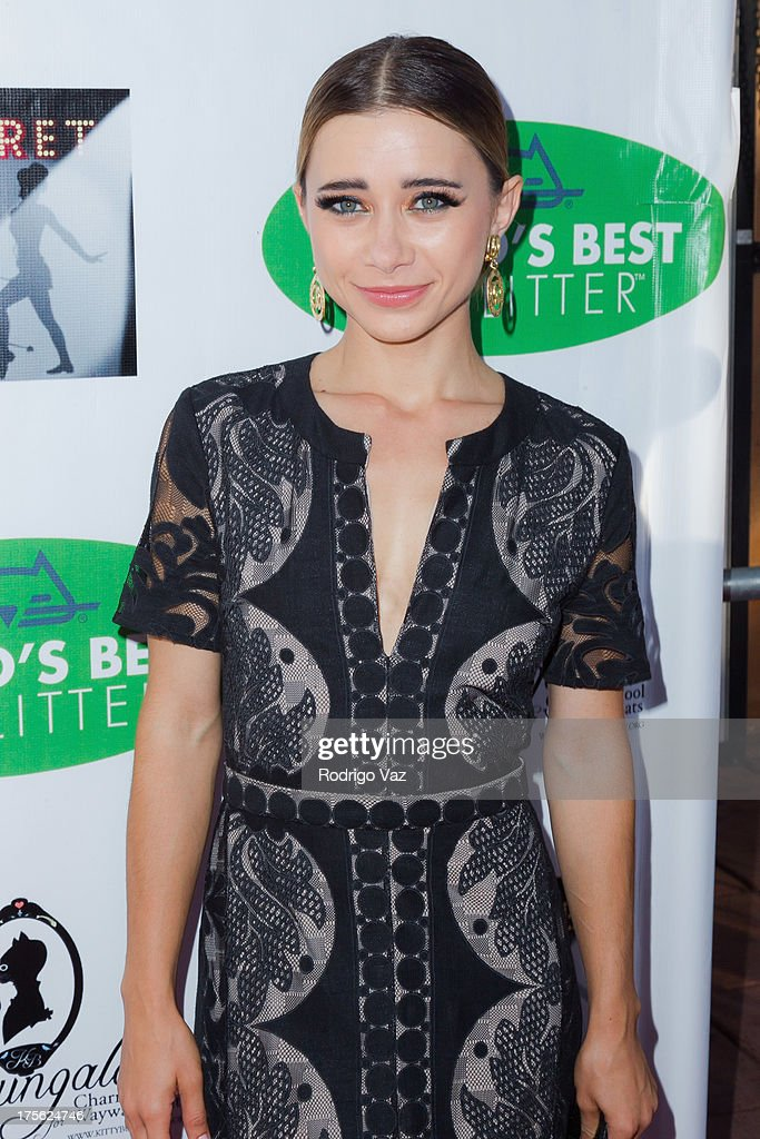 Actress Olesya Rulin arrives at 'CATberet' - A Musical Review for local cat and kitten rescue center Kitty Bungalow Charm School For Wayward Cats at Belasco Theatre on August 4, 2013 in Los Angeles, California.