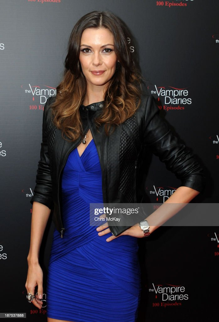 Actress <a gi-track='captionPersonalityLinkClicked' href=/galleries/search?phrase=Olga+Fonda&family=editorial&specificpeople=3989453 ng-click='$event.stopPropagation()'>Olga Fonda</a> attends The Vampire Diaries 100th Episode Celebration on November 9, 2013 in Atlanta, Georgia.