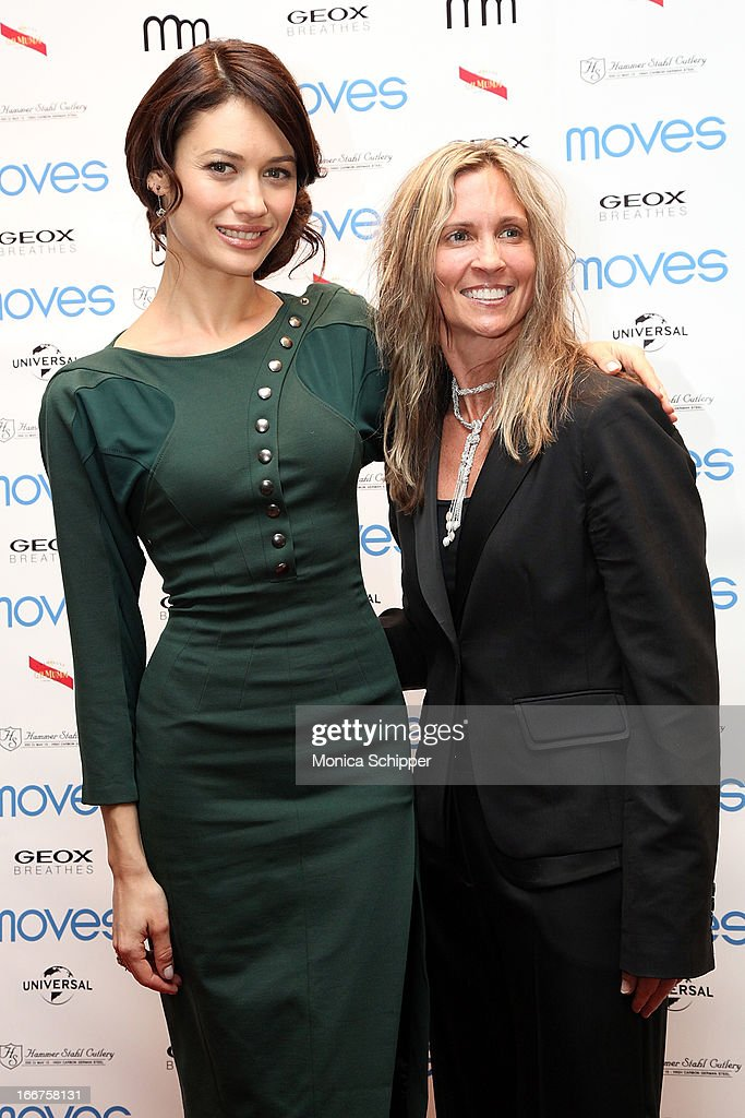Actress Olga Kurylenco and GeoxUSA COO Sharon Crabill attend the 2013 Moves Magazine Spring Fashion Cover Party on April 15, 2013 in New York City.