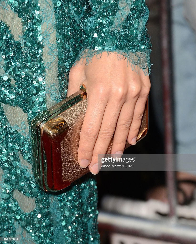 Actress Olga Kurylenko (accessories detail) attends the 'To The Wonder' premiere during the 2012 Toronto International Film Festival at the Princess of Wales Theatre on September 10, 2012 in Toronto, Canada.