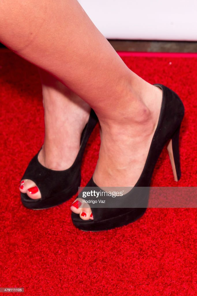 Actress Olive Allen (shoe detail) attends The Dream Builders Project 'A Brighter Future For Children' at H.O.M.E. on March 15, 2014 in Beverly Hills, California.