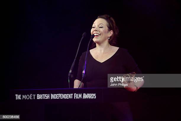 Actress Olivia Coleman is seen onstage as she wins the Best Supporting Actress Film Award at The Moet British Independent Film Awards 2015 at Old...