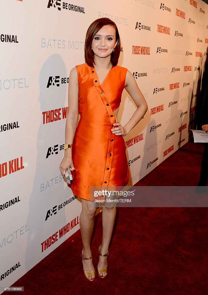 Actress <a gi-track='captionPersonalityLinkClicked' href=/galleries/search?phrase=Olivia+Cooke&family=editorial&specificpeople=10104216 ng-click='$event.stopPropagation()'>Olivia Cooke</a> attends A&E's 'Bates Motel' and 'Those Who Kill' Premiere Party at Warwick on February 26, 2014 in Hollywood, California.
