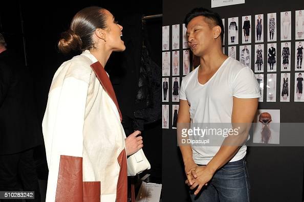 Actress Olivia Culpo and designer Prabal Gurung poses backstage at the Prabal Gurung Fall 2016 fashion show during New York Fashion Week The Shows at...