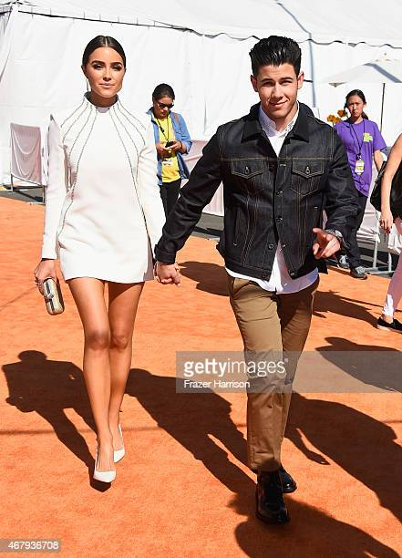 Actress Olivia Culpo and recording artist Nick Jonas attend Nickelodeon's 28th Annual Kids' Choice Awards held at The Forum on March 28 2015 in...