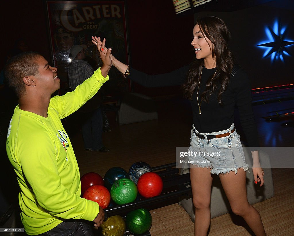 Actress <a gi-track='captionPersonalityLinkClicked' href=/galleries/search?phrase=Olivia+Culpo&family=editorial&specificpeople=9194131 ng-click='$event.stopPropagation()'>Olivia Culpo</a> attends Audi Best Buddies' Bowling For Buddies at Lucky Strike Lanes at L.A. Live on April 27, 2014 in Los Angeles, California.