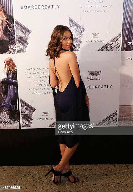 Actress Olivia Culpo attends the Cadillac announcement of partnership with Public School to unveil PreFall Collection in Dubai alongside AllNew...