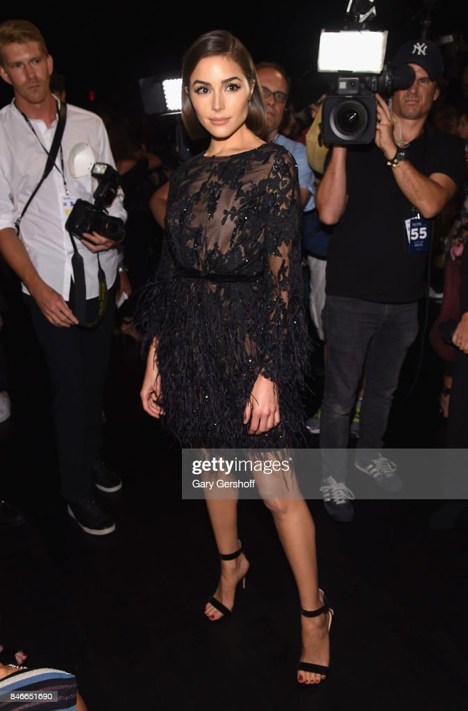 Actress Olivia Culpo attends the Marchesa fashion show during New York Fashion Week at Gallery 1, Skylight Clarkson Sq on September 13, 2017 in New York City.