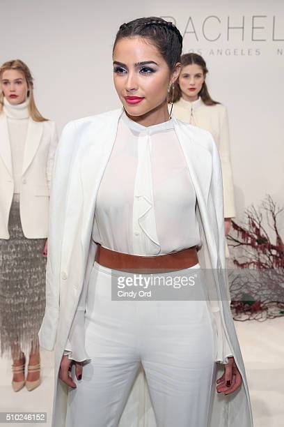 Actress Olivia Culpo poses at the presentation for Rachel Zoe Fall 2016 during New York Fashion Week The Shows at The Space Skylight at Clarkson Sq...
