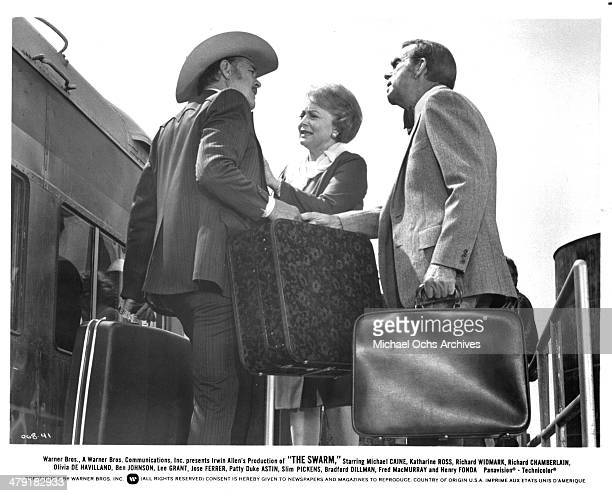 Actress Olivia de Havilland and actor Fred MacMurray in a scene from the Warner Bros movie 'The Swarm' circa 1978