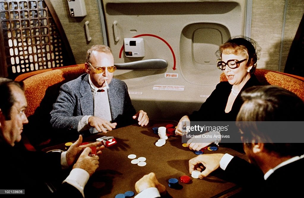 Actress Olivia de Havilland (right) in a scene from the movie 'Airport '77' in 1977 in Los Angeles, California.