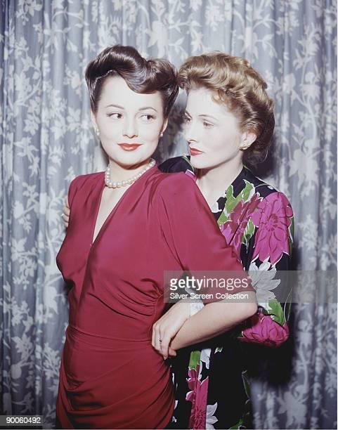 Actress Olivia de Havilland with her sister actress Joan Fontaine circa 1945