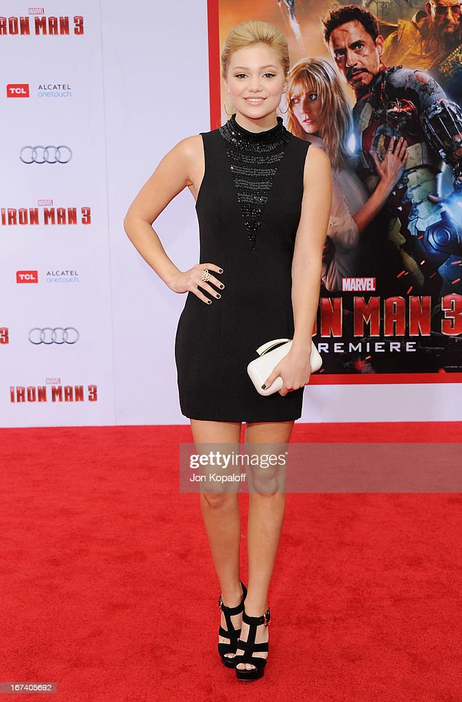 Actress Olivia Holt arrives at the Los Angeles Premiere 'Iron Man 3' at the El Capitan Theatre on April 24, 2013 in Hollywood, California.