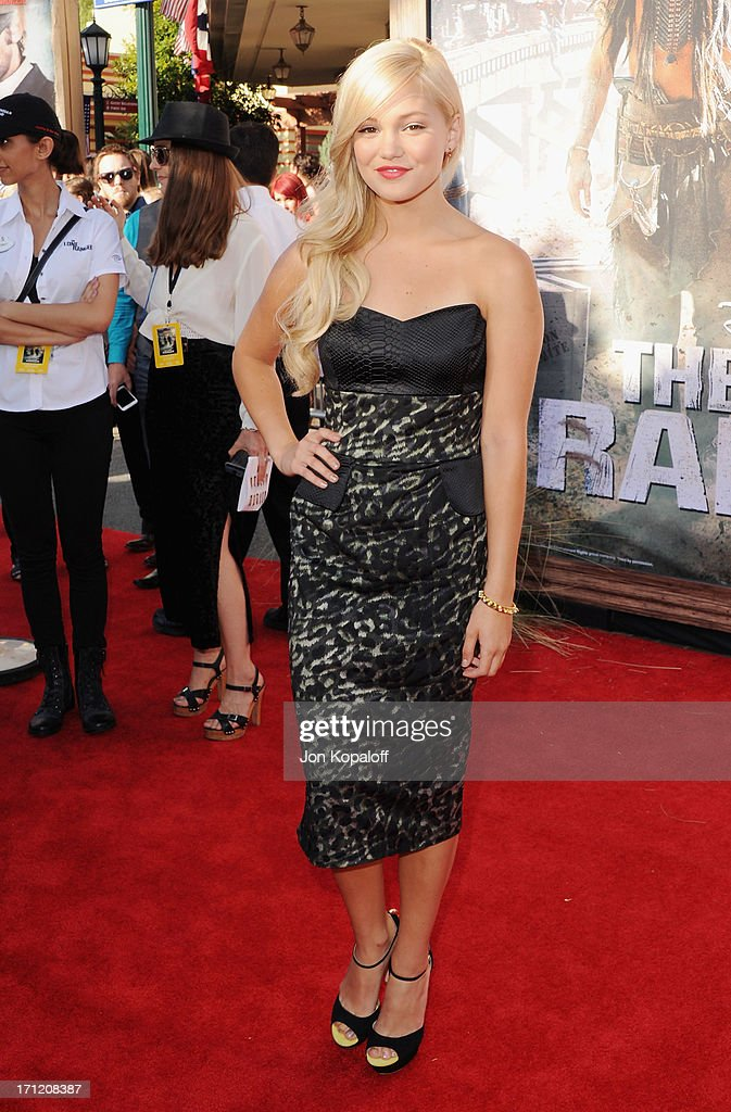 Actress <a gi-track='captionPersonalityLinkClicked' href=/galleries/search?phrase=Olivia+Holt&family=editorial&specificpeople=7563645 ng-click='$event.stopPropagation()'>Olivia Holt</a> arrives at the Los Angeles premiere 'The Lone Ranger' at Disney California Adventure Park on June 22, 2013 in Anaheim, California.