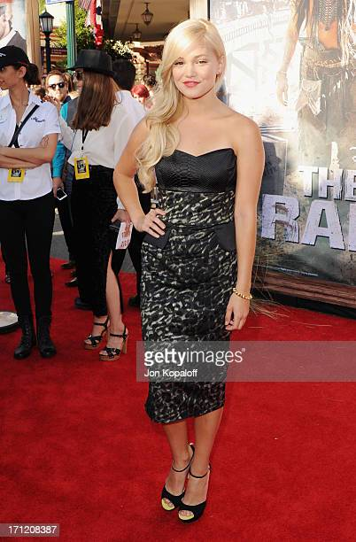 Actress Olivia Holt arrives at the Los Angeles premiere 'The Lone Ranger' at Disney California Adventure Park on June 22 2013 in Anaheim California