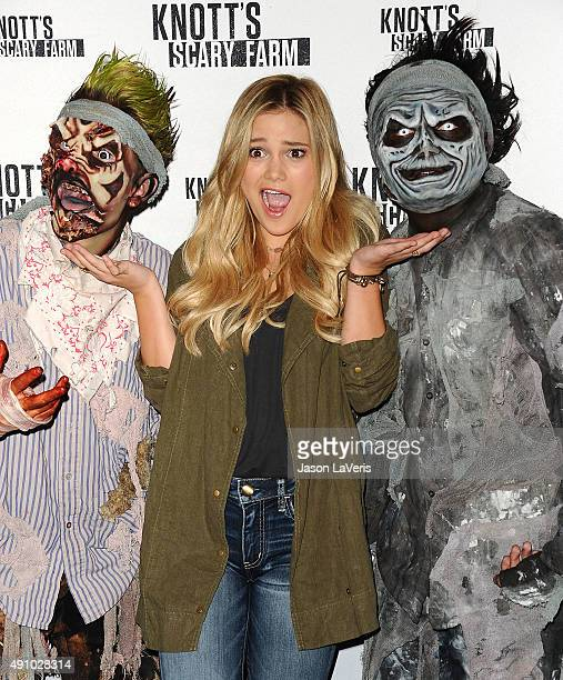 Actress Olivia Holt attends the Knott's Scary Farm black carpet at Knott's Berry Farm on October 1 2015 in Buena Park California