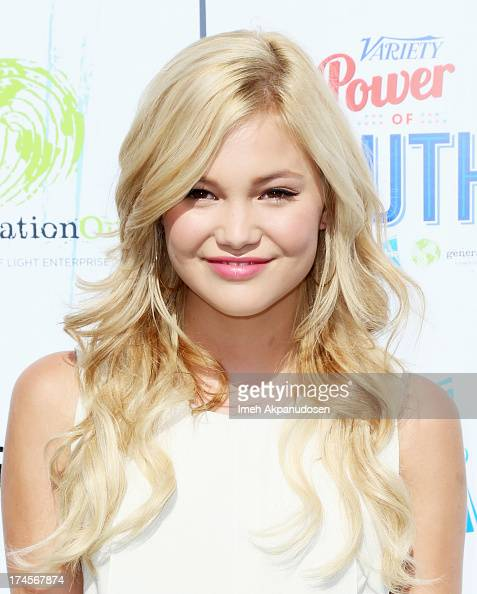 Actress Olivia Holt attends Variety's Power of Youth presented by Hasbro Inc and generationOn at Universal Studios Backlot on July 27 2013 in...