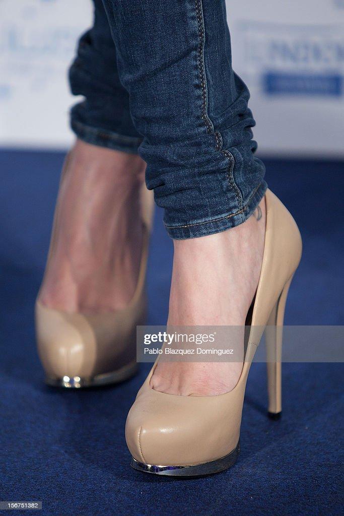 Actress Olivia Molina (shoe detail) presents 'Ilusion Por el Dia a Dia' Campaign at Espacio CoolRoom on November 20, 2012 in Madrid, Spain.