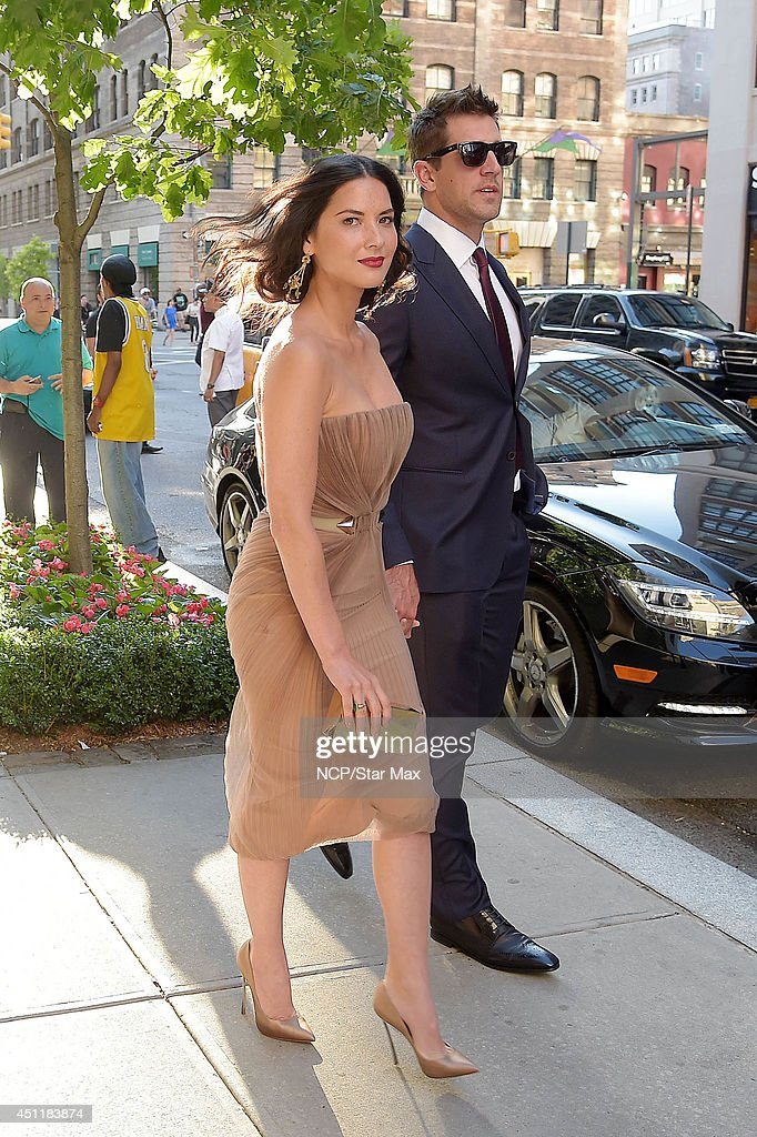 Actress <a gi-track='captionPersonalityLinkClicked' href=/galleries/search?phrase=Olivia+Munn&family=editorial&specificpeople=598969 ng-click='$event.stopPropagation()'>Olivia Munn</a> and <a gi-track='captionPersonalityLinkClicked' href=/galleries/search?phrase=Aaron+Rodgers+-+American+Football+Quarterback&family=editorial&specificpeople=215257 ng-click='$event.stopPropagation()'>Aaron Rodgers</a> are seen on June 24, 2014 in New York City.