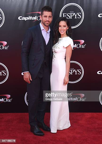 Actress Olivia Munn and NFL player Aaron Rodgers arrive at The 2016 ESPYS at Microsoft Theater on July 13 2016 in Los Angeles California