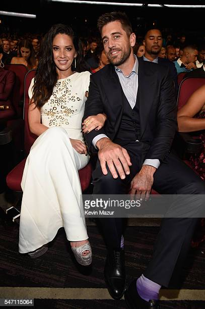 Actress Olivia Munn and NFL player Aaron Rodgers attend the 2016 ESPYS at Microsoft Theater on July 13 2016 in Los Angeles California