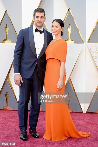 Actress Olivia Munn and NFL player Aaron Rodgers attend the 88th Annual Academy Awards at Hollywood Highland Center on February 28 2016 in Hollywood...