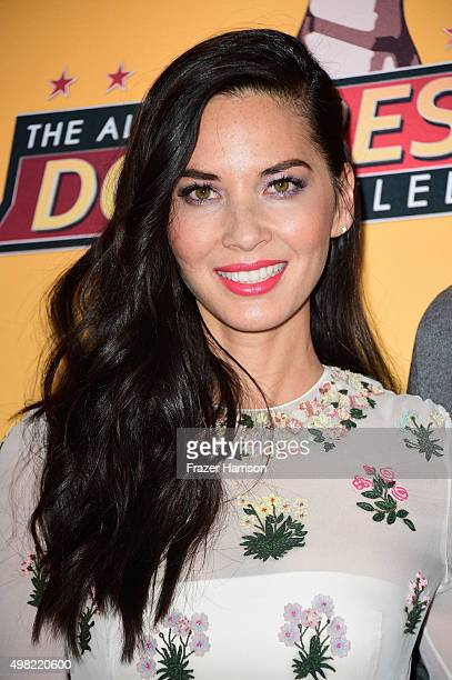Actress Olivia Munn arriives at the AllStar Dog Rescue Celebration at Barker Hangar on November 21 2015 in Santa Monica California