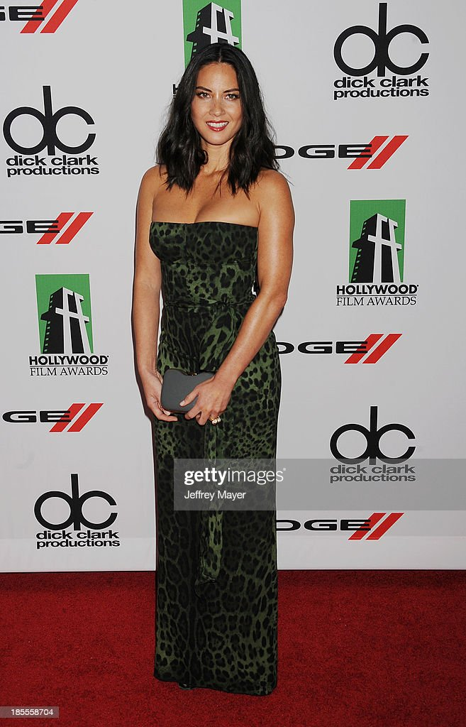 Actress Olivia Munn arrives at the 17th Annual Hollywood Film Awards at The Beverly Hilton Hotel on October 21, 2013 in Beverly Hills, California.