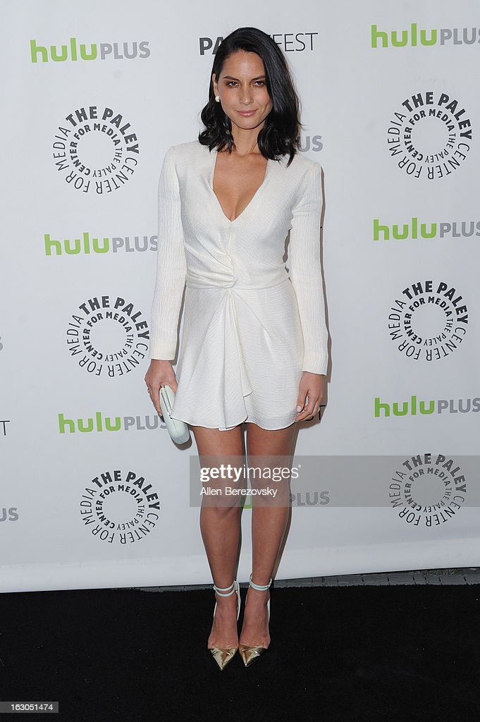 Actress <a gi-track='captionPersonalityLinkClicked' href=/galleries/search?phrase=Olivia+Munn&family=editorial&specificpeople=598969 ng-click='$event.stopPropagation()'>Olivia Munn</a> arrives at the 30th Annual PaleyFest: The William S. Paley Television Festival featuring 'The Newsroom' at Saban Theatre on March 3, 2013 in Beverly Hills, California.