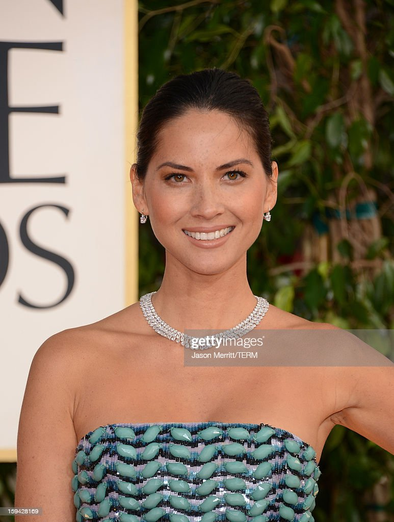 Actress Olivia Munn arrives at the 70th Annual Golden Globe Awards held at The Beverly Hilton Hotel on January 13, 2013 in Beverly Hills, California.