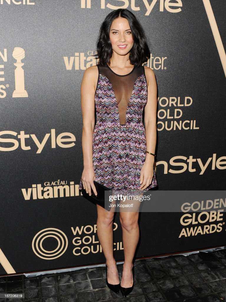 Actress <a gi-track='captionPersonalityLinkClicked' href=/galleries/search?phrase=Olivia+Munn&family=editorial&specificpeople=598969 ng-click='$event.stopPropagation()'>Olivia Munn</a> arrives at The Hollywood Foreign Press Association And InStyle Miss Golden Globe 2013 Party at Cecconi's Restaurant on November 29, 2012 in Los Angeles, California.