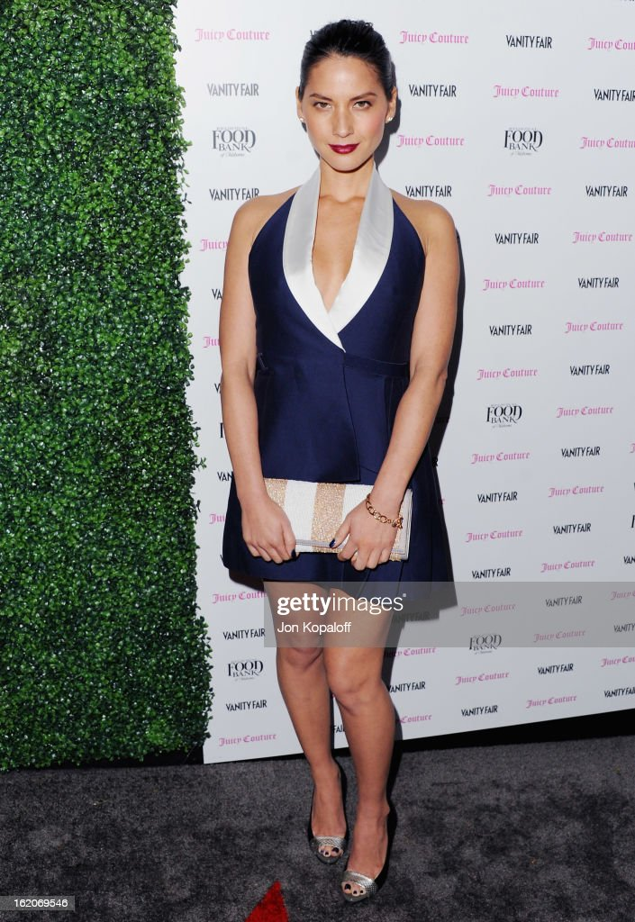 Actress Olivia Munn arrives at the Vanity Fair And Juicy Couture Celebration Of The 2013 Vanities Calendar at Chateau Marmont on February 18, 2013 in Los Angeles, California.