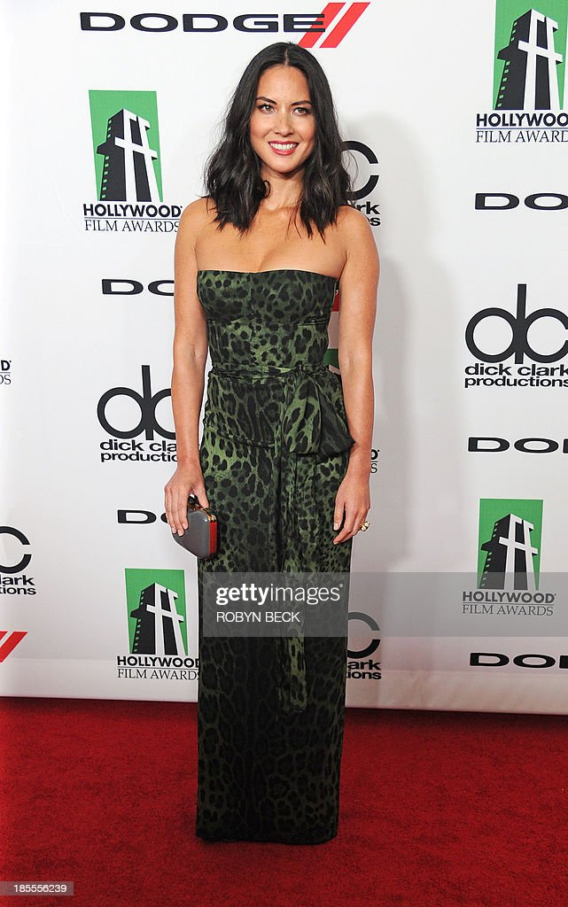 Actress Olivia Munn arrives for the the 17th Annual Hollywood Film Awards Gala, October 21, 2013 at the Beverly Hilton Hotel in Beverly Hills, California AFP PHOTO / Robyn Beck