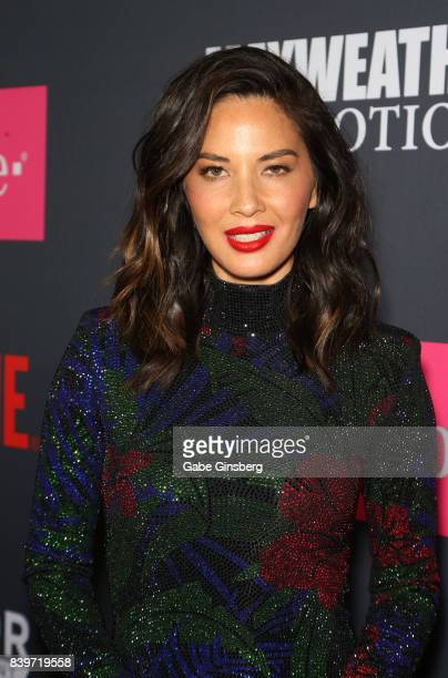 Actress Olivia Munn arrives on TMobile's magenta carpet duirng the Showtime WME IME and Mayweather Promotions VIP PreFight Party for Mayweather vs...