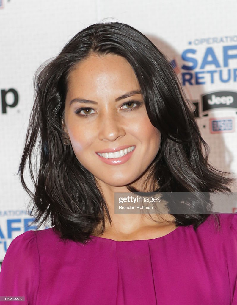 Actress Olivia Munn at the launch event for Jeep Operation Safe Return at the USO Warrior & Family Center on February 6, 2013 in Fort Belvoir, Virginia.